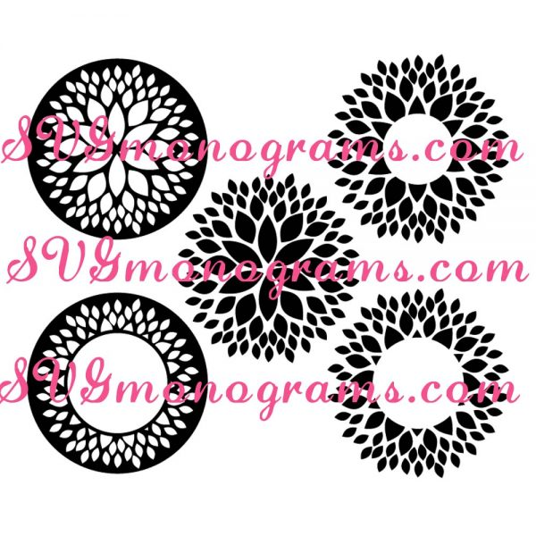SVGmonograms Dahlia and Dahlia Frames for Monograms