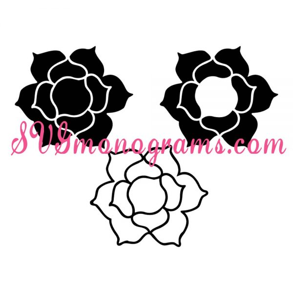 SVGmonograms Rose and Rose Frames for Monograms
