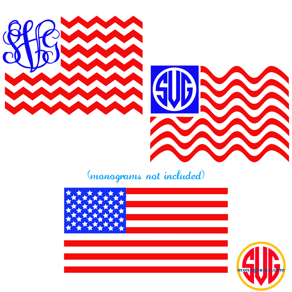 Patriotic American Flag Monogram Frames SVG DXF EPS | SVGmonograms