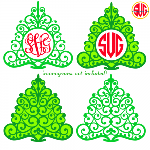 Christmas Trees and Christmas Tree Monogram Frames