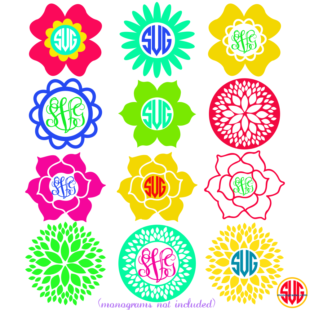 Flower Frames Bundle For Monograms Svgmonograms