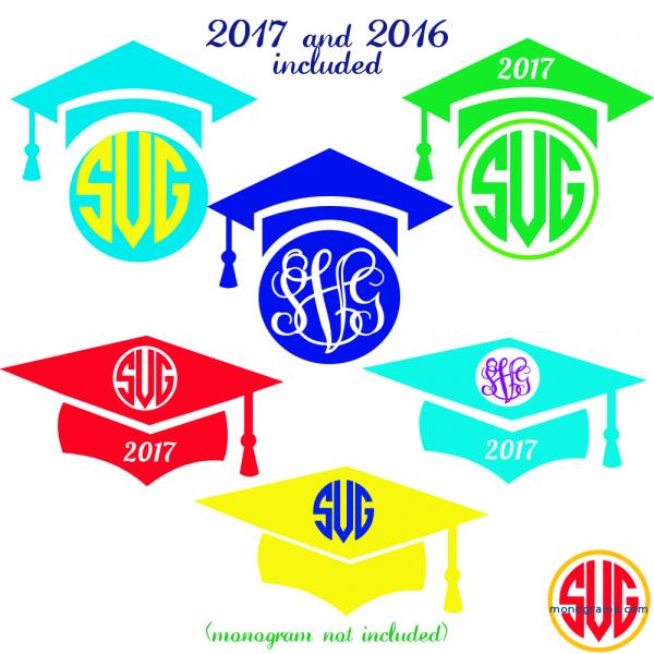 Graduation Cap Monogram Frames 2016 and 2017