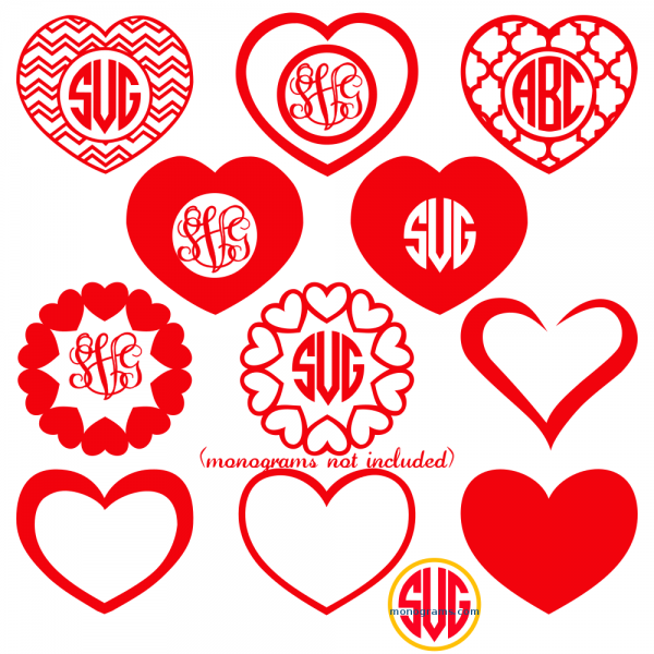 Heart Frames For Monograms Svg Dxf Eps Svgmonograms