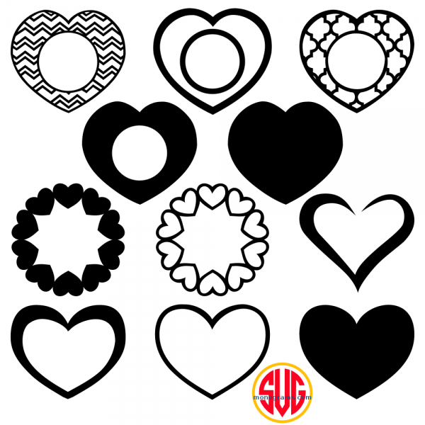 Hearts and Heart Monogram Frames Files