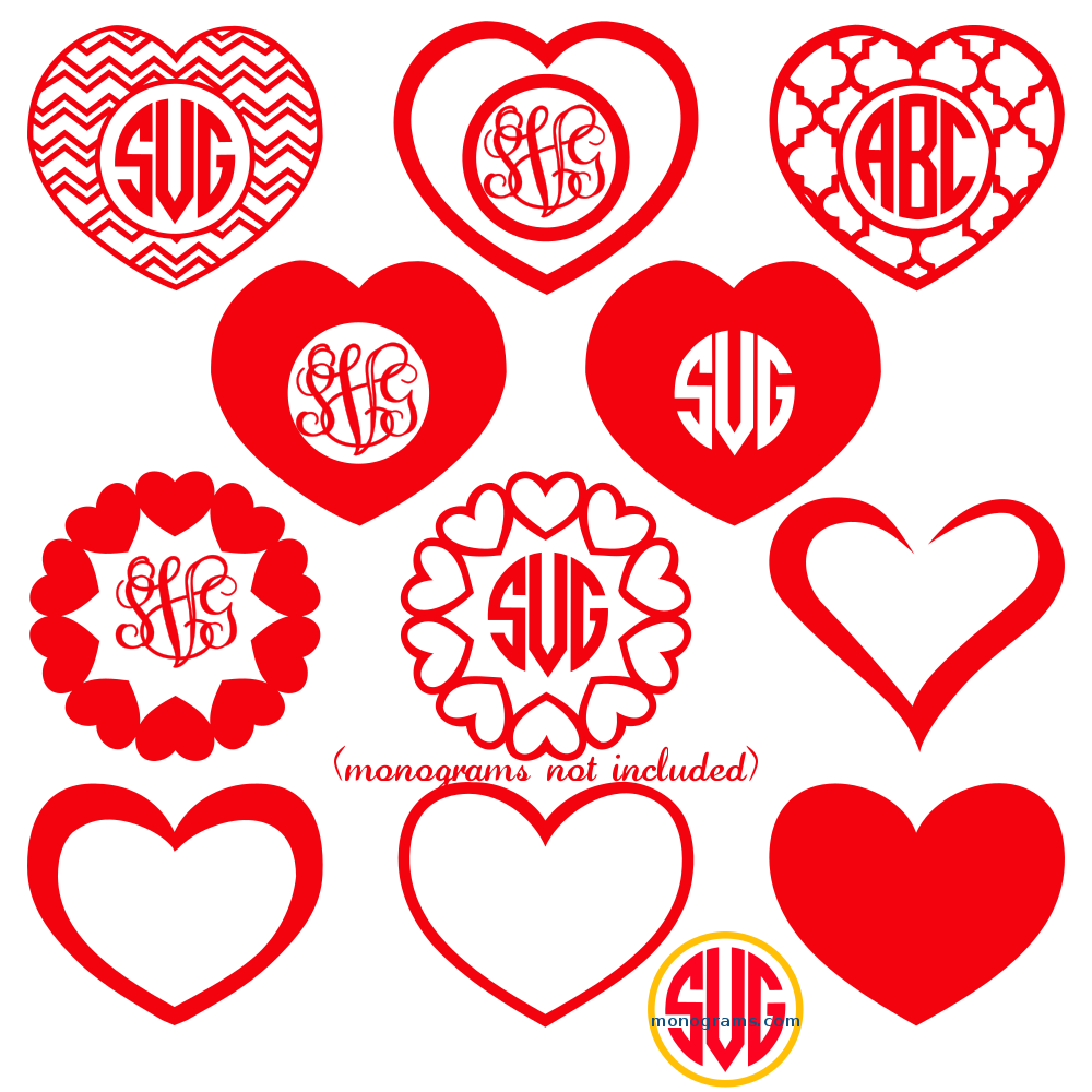 Heart Frames for Monograms SVG DXF EPS – SVGmonograms