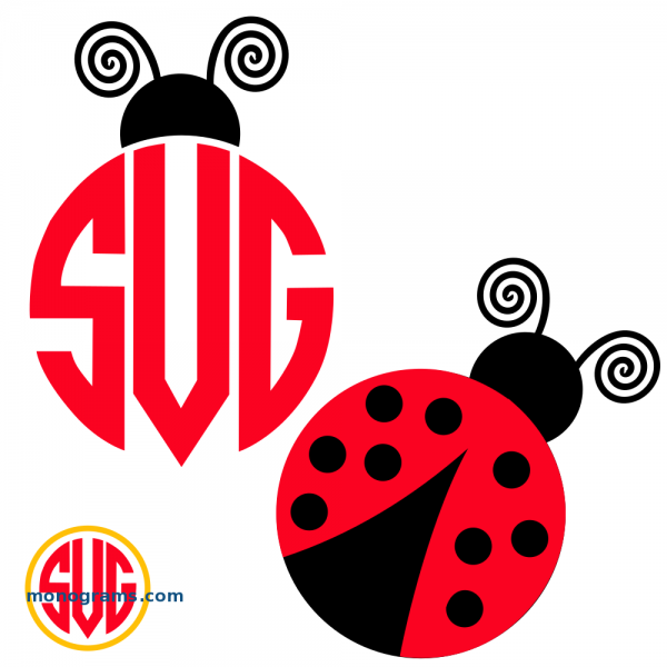 Ladybug and Ladybug Monogram Topper