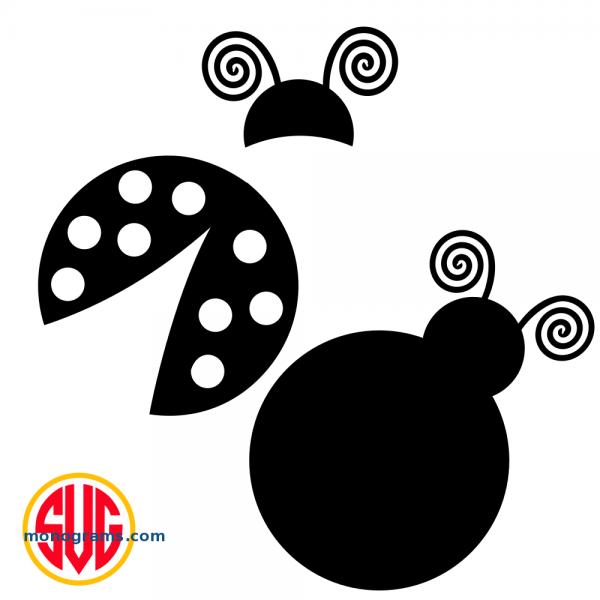 Ladybug and Ladybug Monogram Topper Files