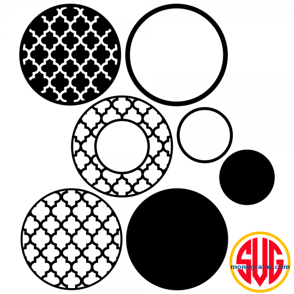 Quatrefoil Circle Frames for Monograms Files