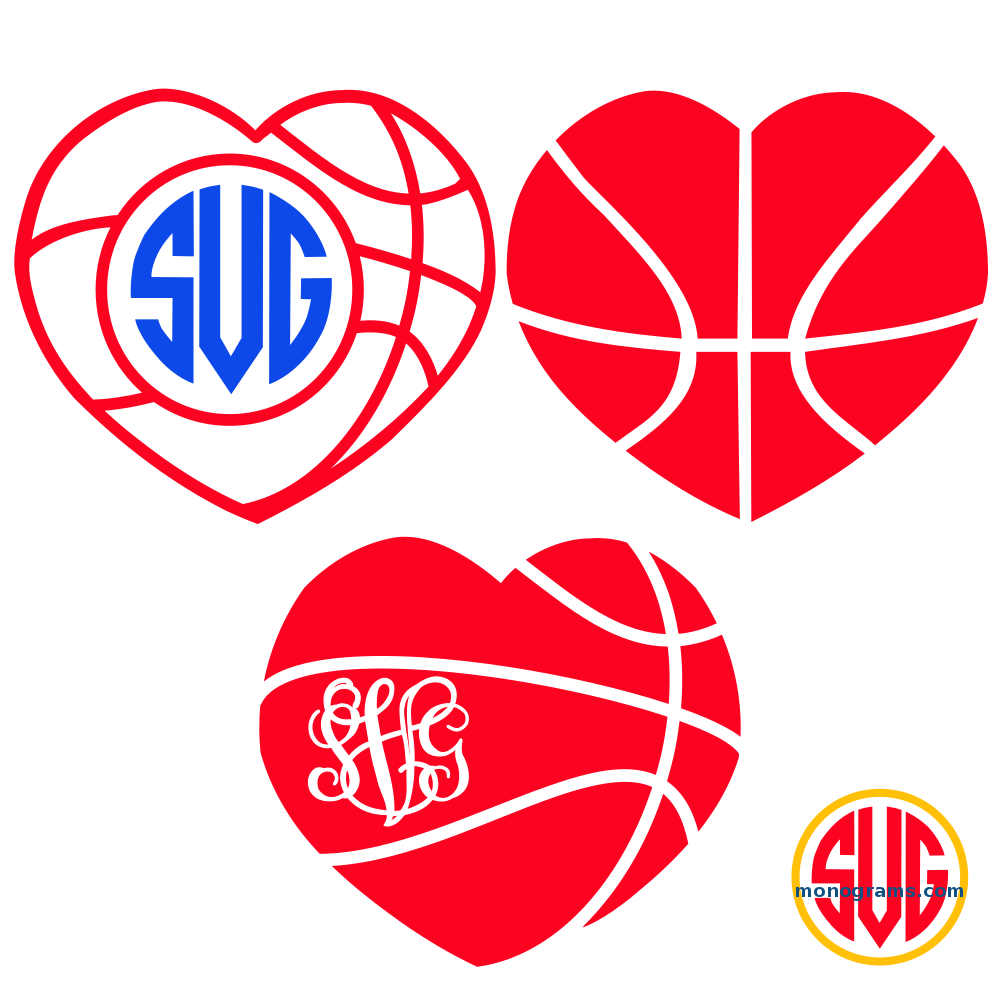 Heart Basketball Monogram Frames – SVGmonograms