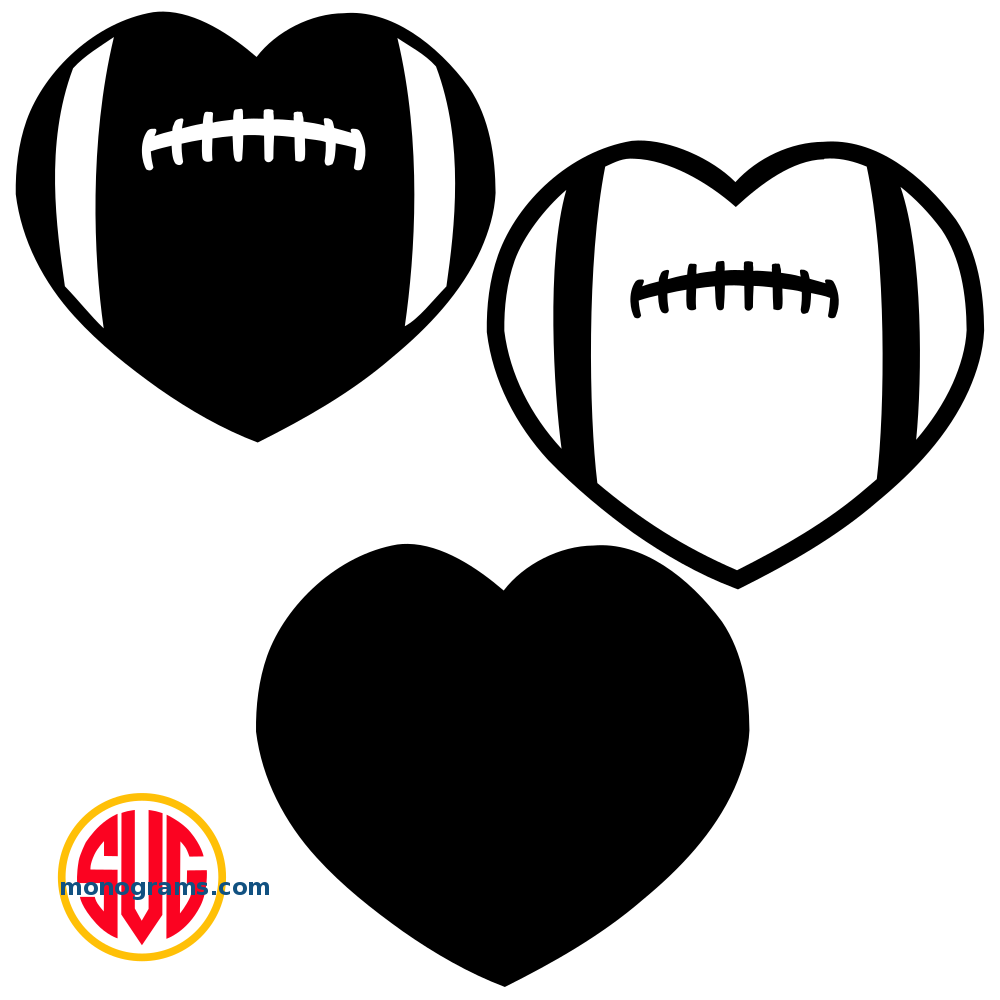 heart football monogram frames files