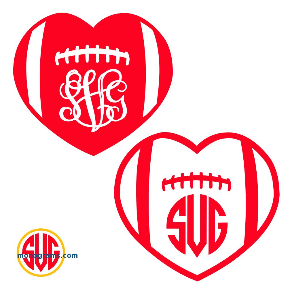 Heart Football Monogram Frames Svgmonograms